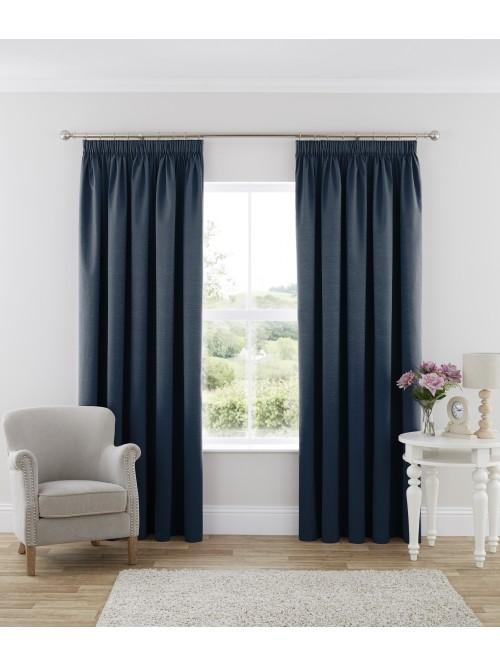 Harmony Blackout Pencil Pleat Curtains Blue