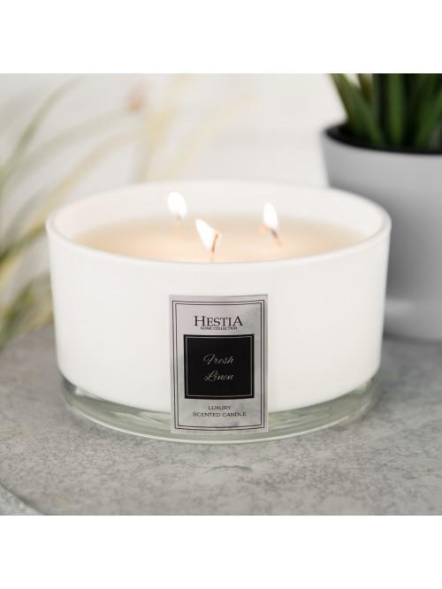 Hestia 650g Triple Wick Scented Candle White - Fresh Linen