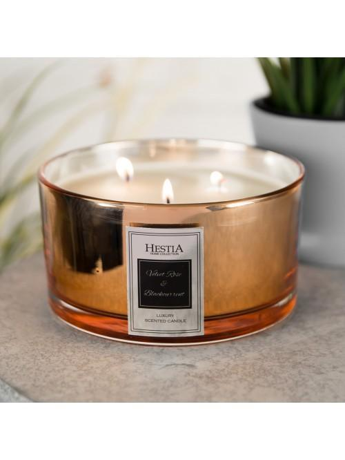 Hestia 650g Triple Wick Candle Copper Velvet Rose & Blackcurrant