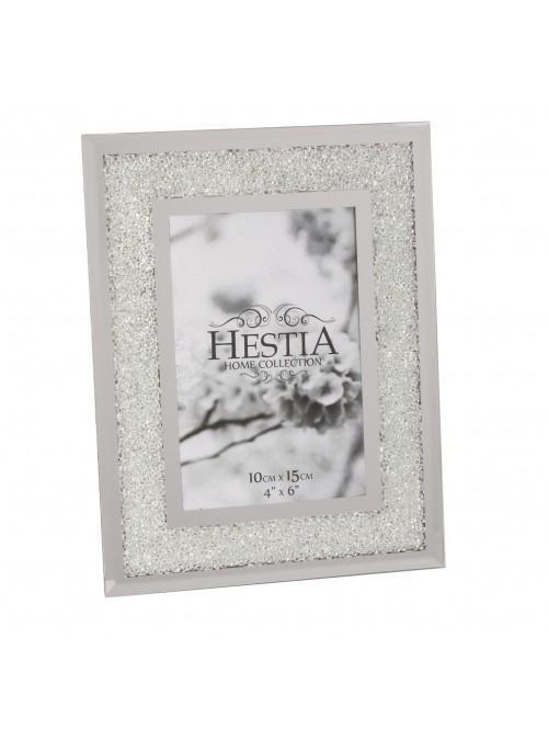 Hestia Crystal Edge with Silver Border Photo Frames