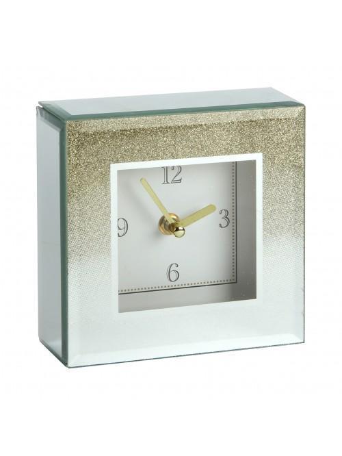 Hestia Glass Gold Glitter Mantel Clock