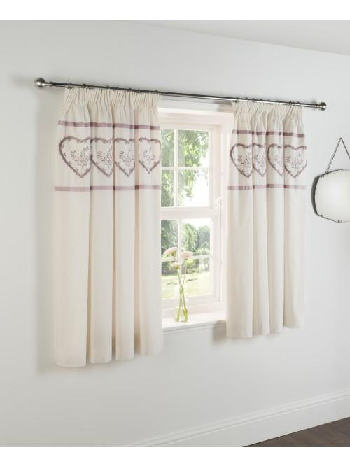Heart Embroidered Panel Bed Curtain Heather
