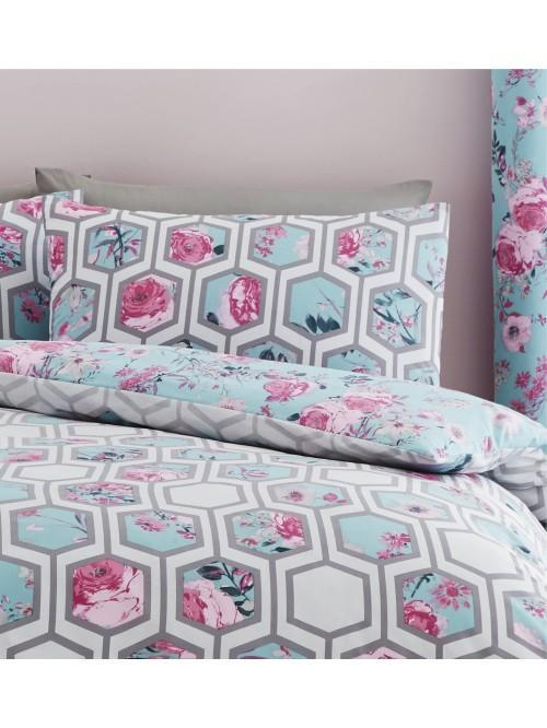 Catherine Lansfield Hexagon Floral Bedding Collection Teal