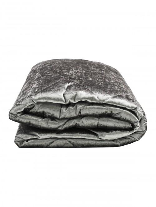 Crushed Velvet Bedspread Silver