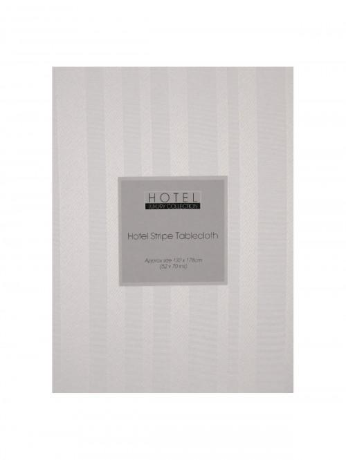 Hotel Collection Satin Stripe Tablecloth White