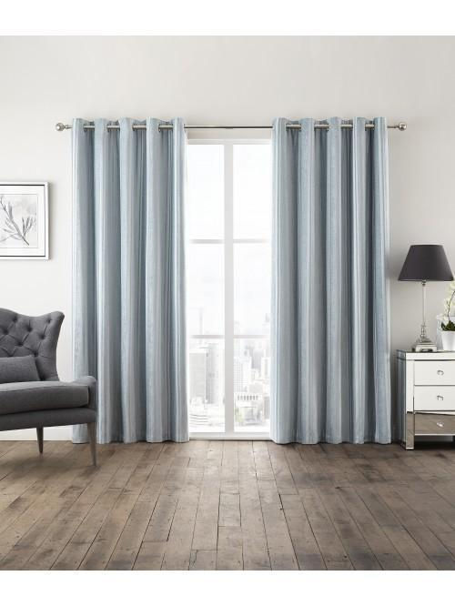 Hotel Velvet Stripe Thermal Eyelet Curtains Duck Egg