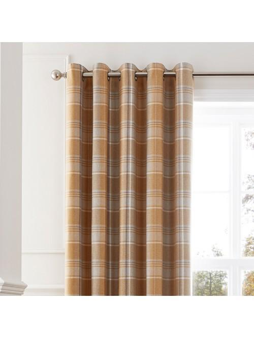 Howarth Woven Check Eyelet Curtains Ochre