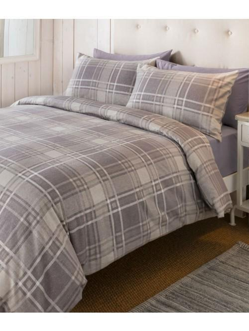 Hygge Flannelette Check Duvet Set Natural