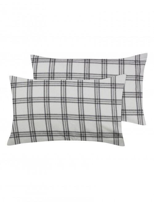 Hygge Check Flannelette Bed Linen Natural