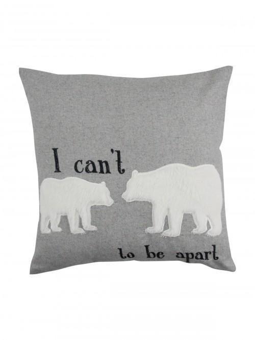 Bear To Be Apart Cushion Grey