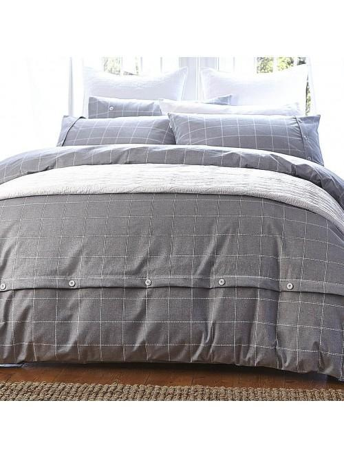 Bianca Brushed Cotton Print Duvet Set Grey