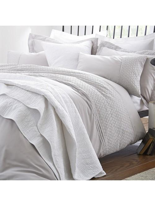 Bianca Embroidered Cotton Circle Bedding Collection Grey
