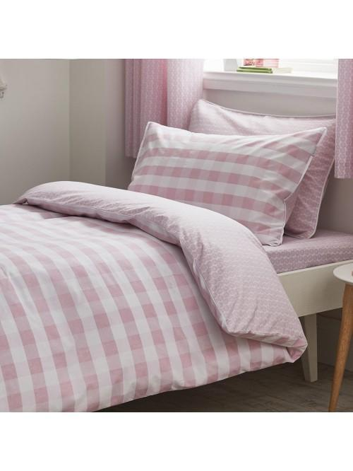 Little Bianca Gingham Cotton Print Duvet Set Blush