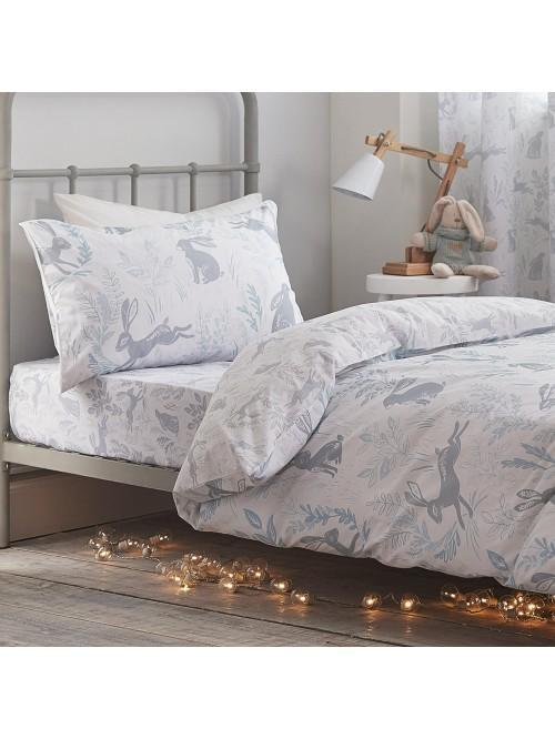 Little Bianca Hare Cotton Print Duvet Set Duck Egg