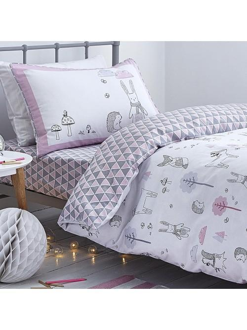 Little Bianca Nordic Cotton Print Duvet Set Pink