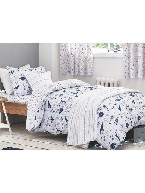 Little Bianca Folk Cotton Bedspread Blue