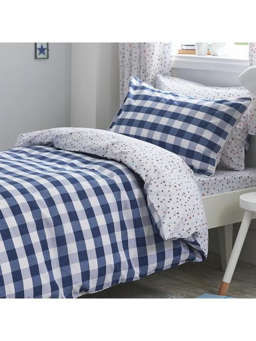 Little Bianca Gingham Cotton Print Duvet Set Blue