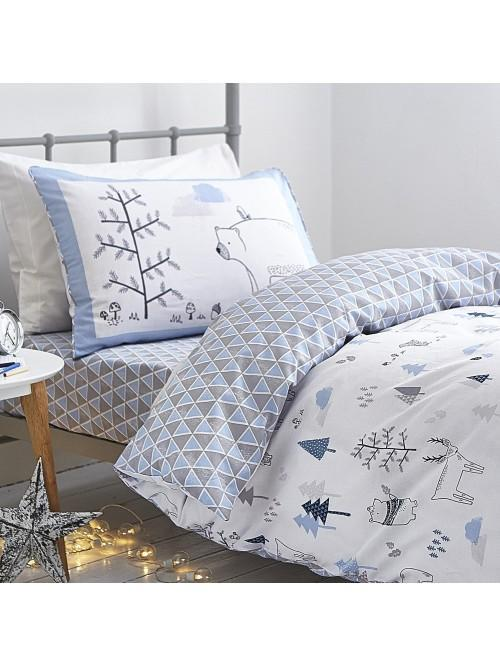 Little Bianca Nordic Cotton Print Duvet Set Blue