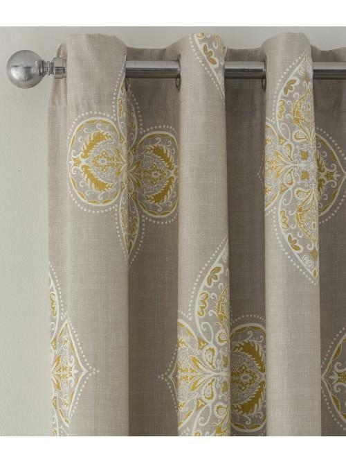 Inca Eyelet Curtains Ochre