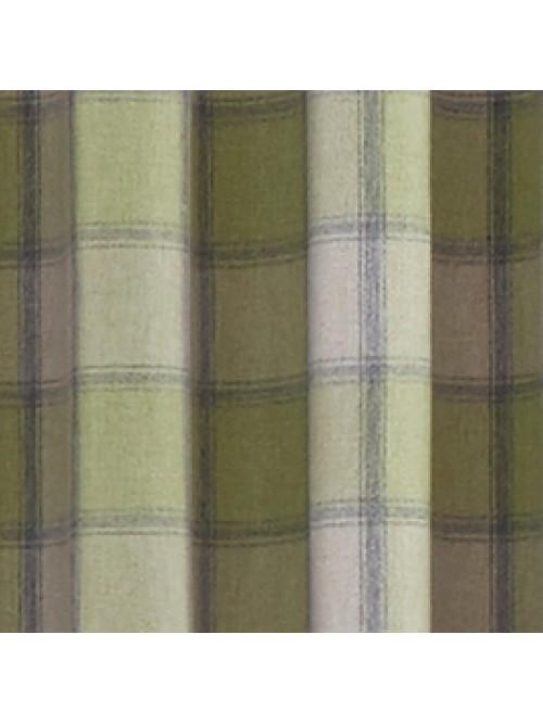 Kilbride Woven Check Eyelet Curtains Green