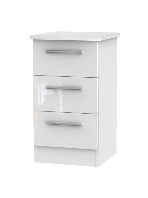 Athena 3 Drawer Bedside Cabinet White Gloss