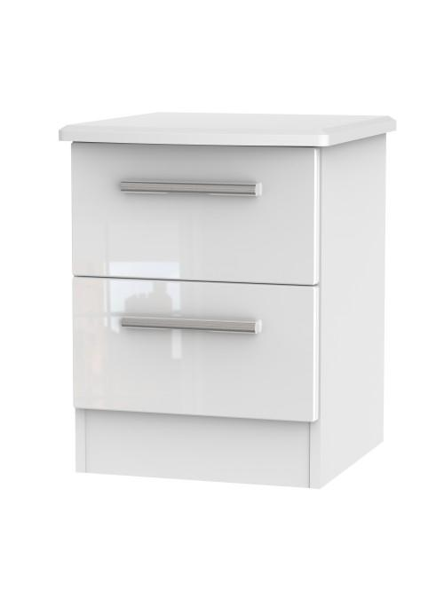 Athena 2 Drawer Bedside Cabinet White Gloss