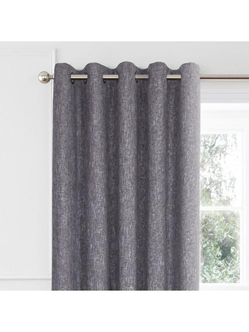 Layton Boucle Blended Eyelet Curtains Grey