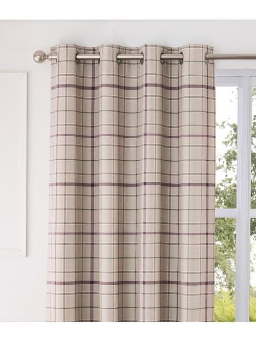 Lewis Check Thermal Blackout Eyelet Curtains Plum