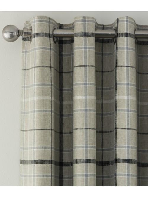 Lewis Check Blackout Eyelet Curtains Grey
