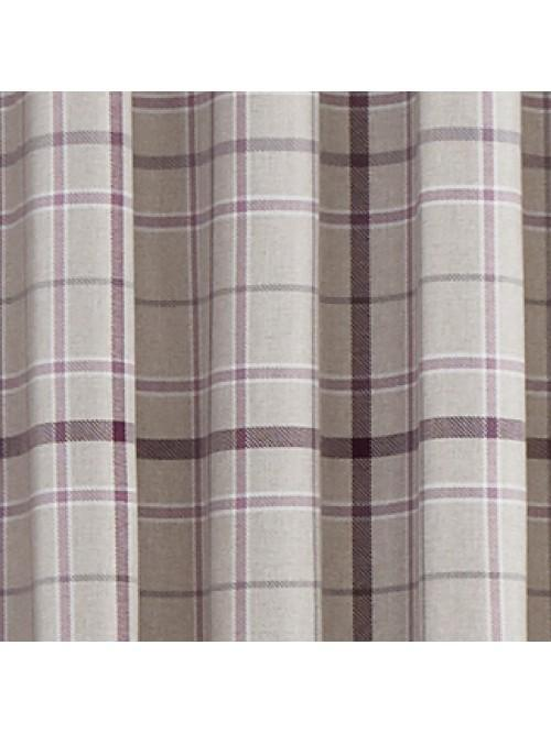 Lewis Check Blackout Eyelet Curtains Heather