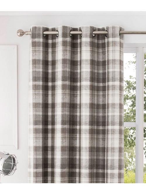 Linden Woven Check Eyelet Curtains Natural