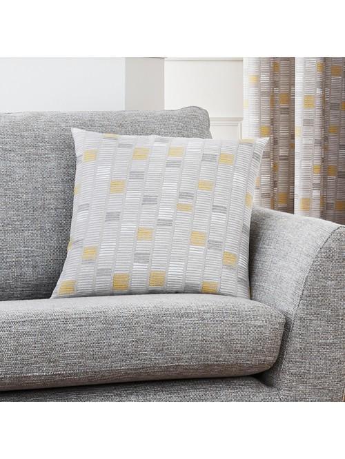 Linear Eyelet Cushion Ochre