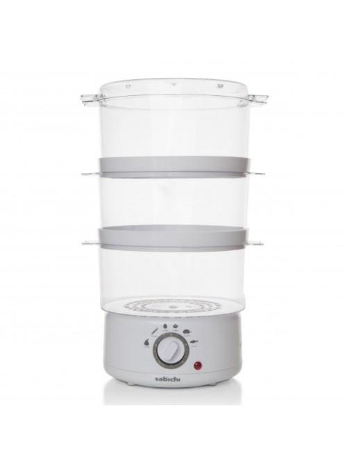 3 Tier White Manual Steamer