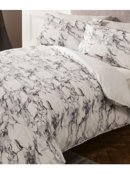 Marble Supersoft Printed Duvet Set Grey
