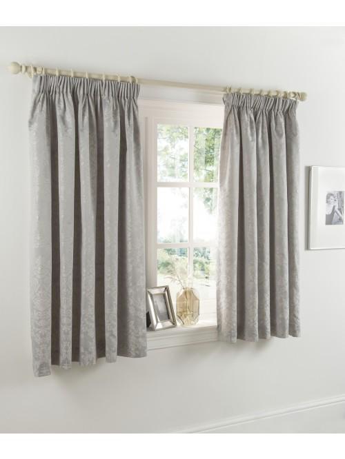 Metallic Damask Jacquard Curtain Silver