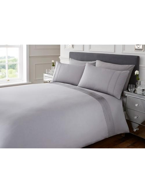 Hotel Collection Mini Pleats Duvet Set Grey