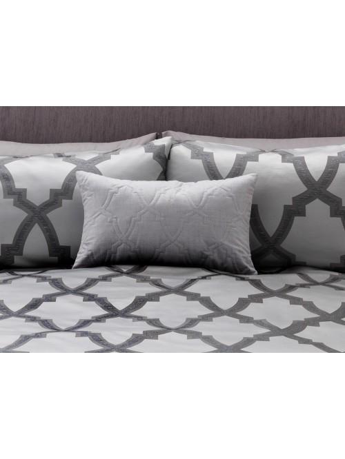 Silver Lurex Fretwork Cushion