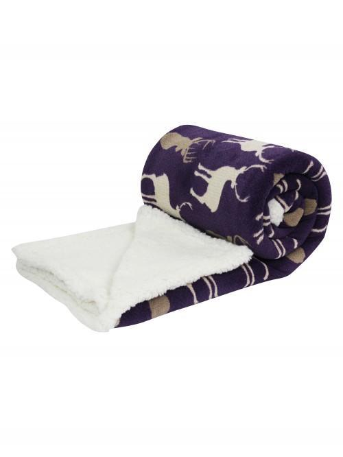 Multi Stag Printed Sherpa Throw Plum