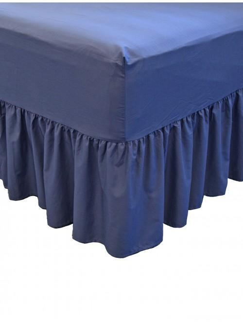 Non Iron Fitted Frilled Valance Sheet Navy