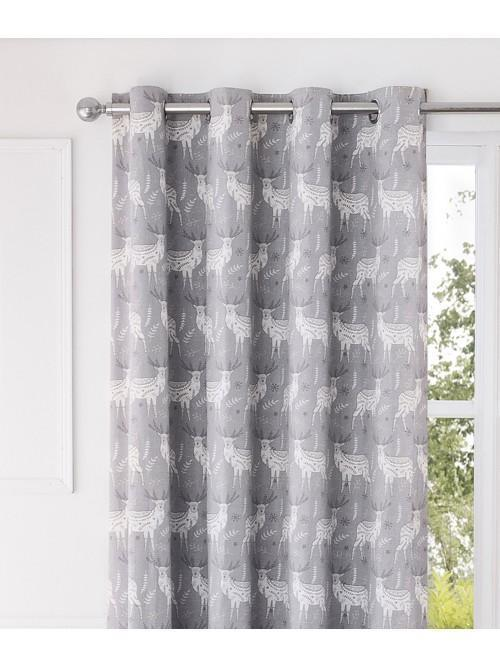 Nordic Stag Eyelet Curtains Natural
