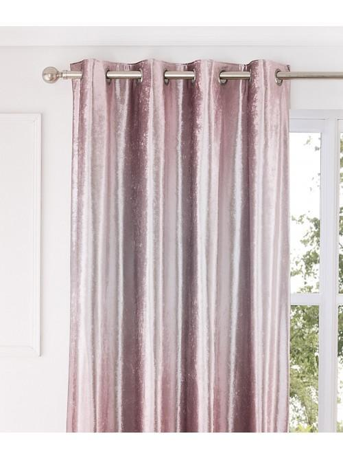 Ombre Crushed Velvet Eyelet Curtains Pink