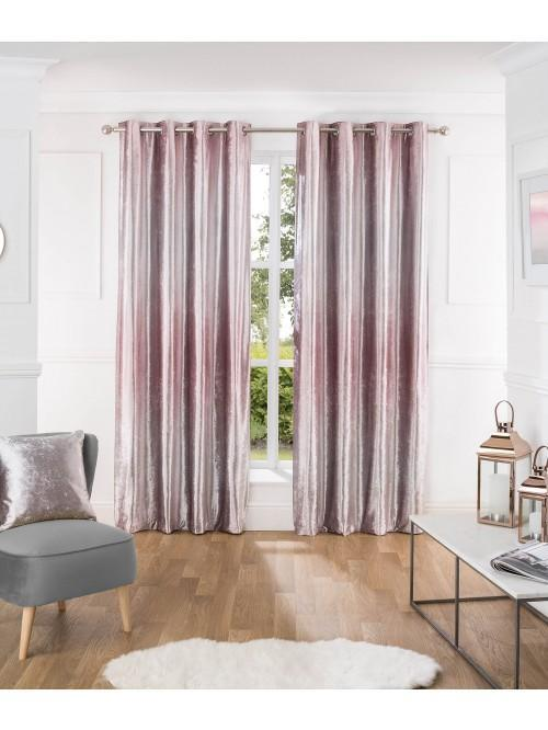 Ombre Crushed Velvet Curtain Cushion Pink
