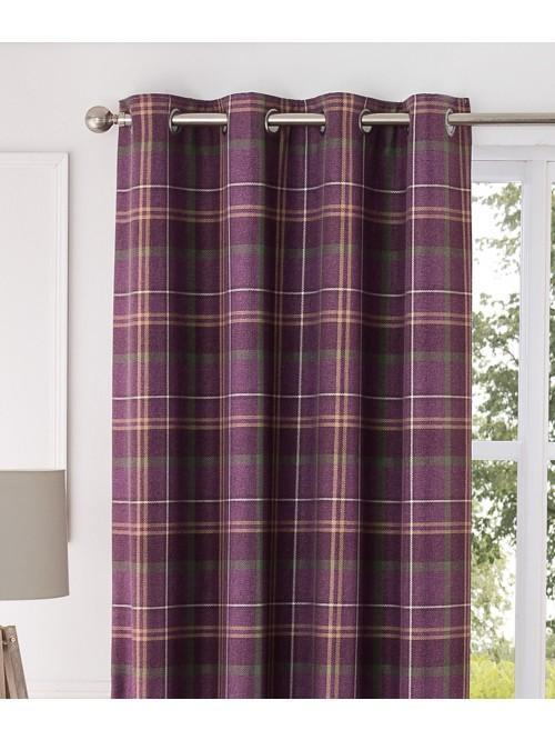 Orkney Brushed Check Eyelet Curtains Plum