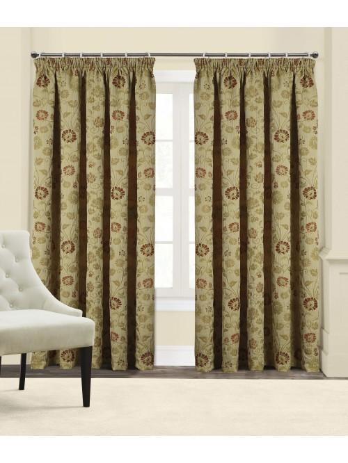 Pemberley Pencil Pleat Curtains Red