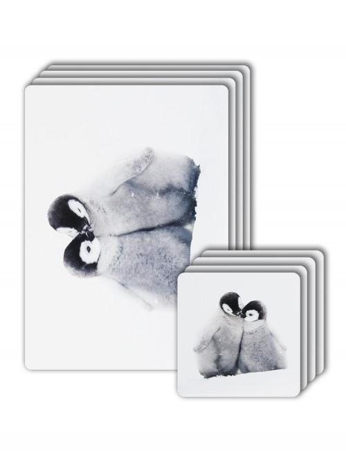 Photograhic Penguin Placemat & Coaster Set Red