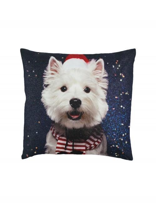 Photographic Westie Cushion Red
