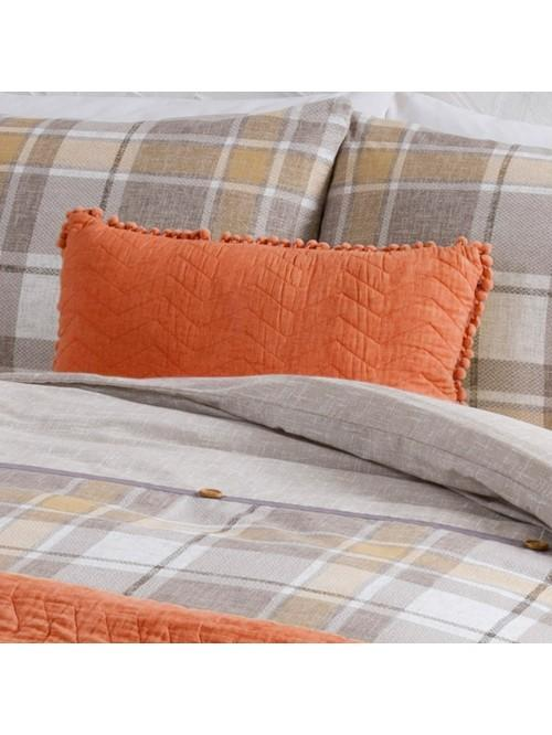 Orange Pom Pom Cotton Cushion Orange