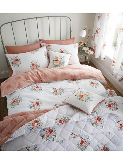 Catherine Lansfield Pom Pom Floral Bedding Collection Coral