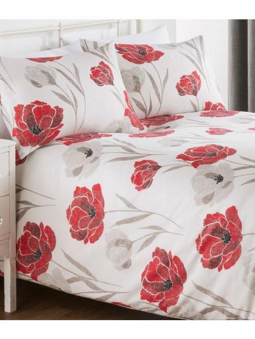 Poppy Bloom Printed Duvet Set Red