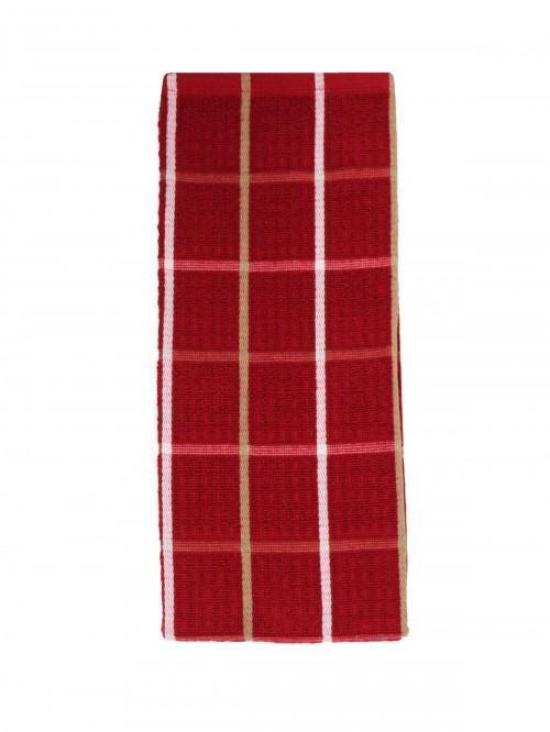 Jumbo Supersoft Check Tea Towel Full Red